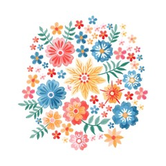 Embroidery circle pattern with beautiful flowers. Colorful bouquet isolated on white background. Floral vector illustration.
