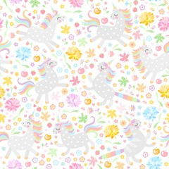 Seamless pattern with cute unicorns and colorful flowers on white background. Vector illustration.