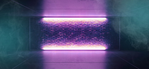 Neon Glowing Smoke Fog Sci Fi Futuristic Retro Club Stage With Empty Lighted Purple Blue Frosted Glass Frame On Grunge Brick Wall Concrete Floor Ceiling Reflections 3D Rendering