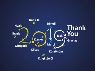 Thank You in different languages 2019 blue background vector
