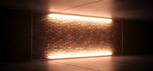 Neon Glowing Led Sci Fi Futuristic Retro Club Stage With Empty Lighted Orange Yellow Frosted Glass Frame On Grunge Brick Wall Concrete Floor Ceiling Reflections 3D Rendering