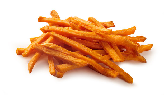 Stack or pile of spicy sweet potato french fries
