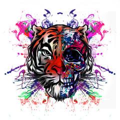 Красочные рисованной тигровая морда на абстрактный красочный фон