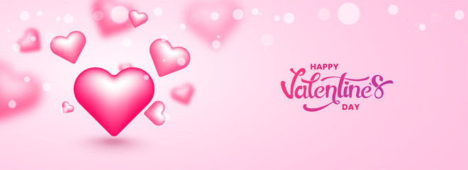 Happy Valentine's Day header or banner design with illustration of glossy pink heart shapes on blurred background.