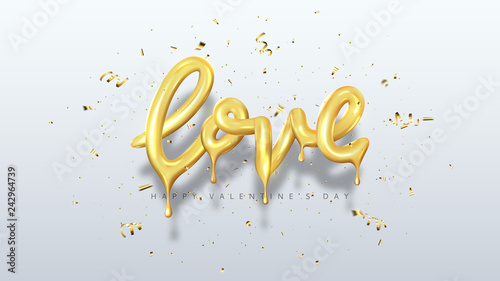 Vector illustration with 3d golden dripping letters. Holiday symbol with