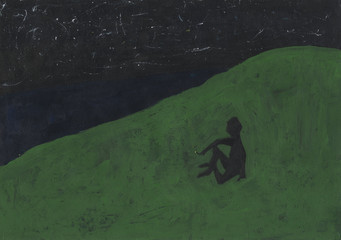 Silhouette of a smoking man on a hill. Abstract handpainted illustration. Materials: acrylic paints, brushes, paper. Black and green colors.