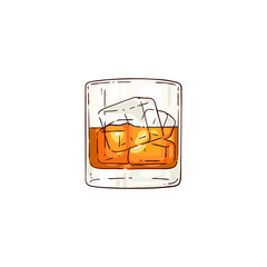 Vector whiskey or rum glass with ice cubes sketch icon. Alcohol drink cup for luxury celebration or product advertising design. Party drink shot with orange liquid. Isolated illustration
