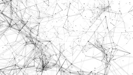 Abstract polygonal space. Network connection structure. Digital data visualization. Big data digital background. 3d rendering.