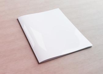 White magazine cover mockup on wood 3d rendering