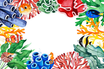 Underwater creatures frame border with multicolored corals,seaweeds,fish,seahorse and more.Perfect for invitations,party decorations,printable,craft project,greeting cards,Birthday etc.