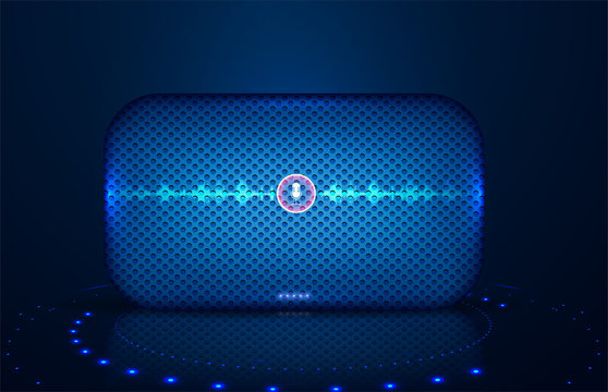 Smart speaker with voice control. Voice control of your smart home. Smart speaker reports the news, plays music, answers questions. Equalizer sound waves on the smart speaker. Vector