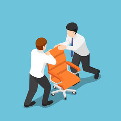 Isometric two business people fighting over for ceo chair