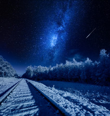 Milky way over frozen railway line in winter at night