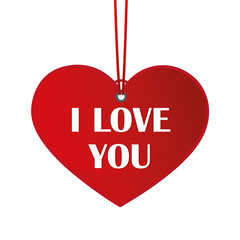 I love you red hanging heart label on white background vector illustration EPS10
