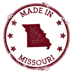 Made in Missouri stamp. Grunge rubber stamp with Made in Missouri text and us state map. Breathtaking vector illustration.