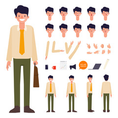 Businessman character creation design. Animated character office man employee.