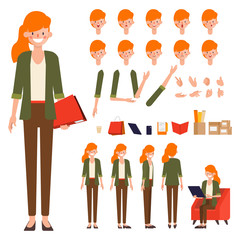 Businesswoman character creation design. Animated character office woman employee.