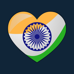 heart with indian flags vector symbol illustration
