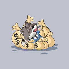 wolf sticker emoticon lies happy on bags of money