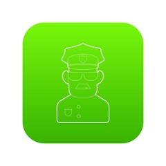 Policeman icon green vector isolated on white background