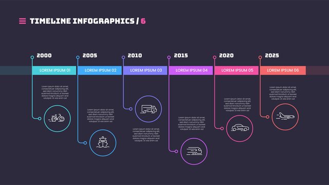 Thin line timeline minimal infographic concept with six periods