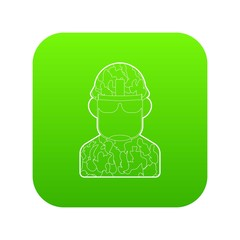 Soldier icon green vector isolated on white background