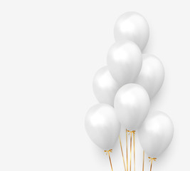 Balloons group with gold ribbon realistic. 3d ballon isolated on white background