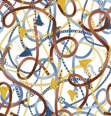 Seamless pattern with belts, chain and tassel for fabric design. White seamless background pattern.
