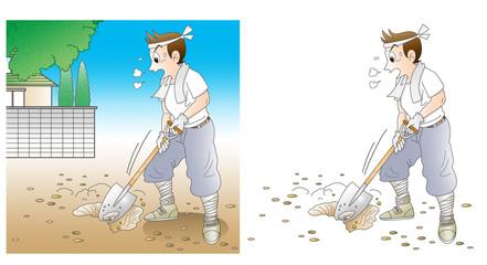 工事、穴掘り