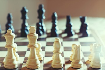 Chess board game, encounter difficult situation, business competitive concept