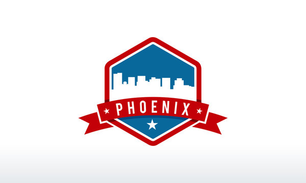 Phoenix City Skyline Logo badge vector illustration