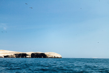 One of the rock formations of the Ballestas Islands (Paracas, Peru) seen from afar