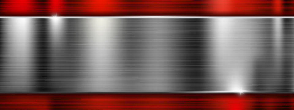 Long metal brushed texture with red frame