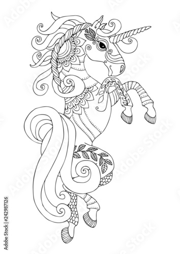 Jumping Unicorn. Hand drawn fantasy horse. Sketch for anti-stress ...