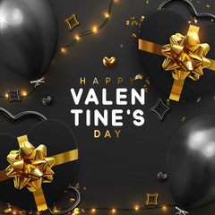 Valentines Day banner. Background design of sparkling lights garland, realistic gifts box with heart shaped, black balloon and glitter gold confetti. Holiday poster, greeting cards, headers, website