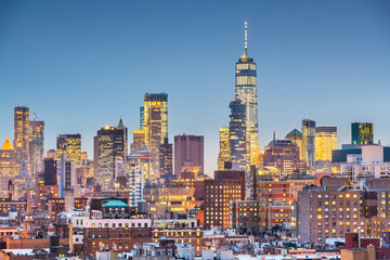 New York, New York cityscape at dusk