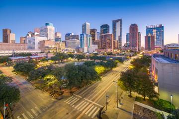 Fototapete - Houston, Texas, USA downtown park and skyline at twilight.