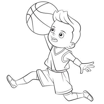 cartoon boy playing basketball - outline