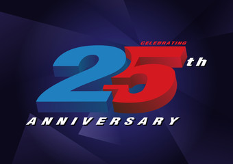 25th anniversary celebrating 3d logo red and blue color on blue background vector