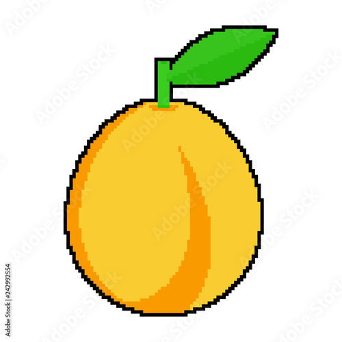 Pixel art  Apricots on a white background  Vector