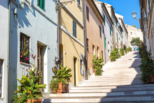 Numana Sirolo Ancona Mount Conero Marche region Italy - The stairway of old town Numana, beautiful tiny pearl of the Adriatic Sea