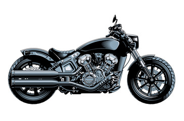 Bobber or chopper motorcycle, side view, isolated on white background. Monochrome high detailed vector illustration.
