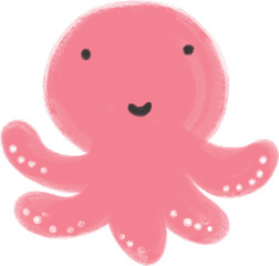Cute Sea Creatures. Sea life illustration Summer images. Kid cartoon octopus.
