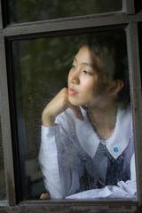 Portrait of thai high school student uniform teen beautiful girl happy and relax