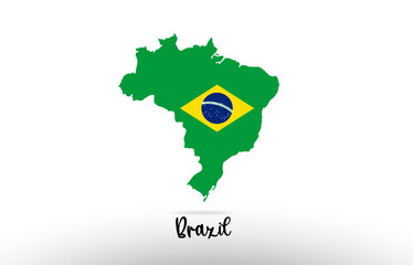 Brazil country flag inside map contour design icon logo Fotomurales