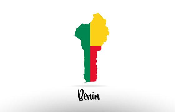 Benin country flag inside map contour design icon logo