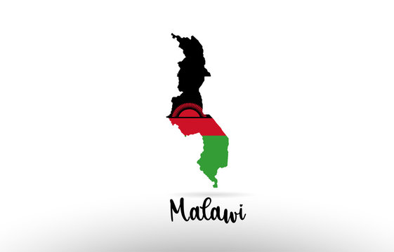 Malawi country flag inside map contour design icon logo
