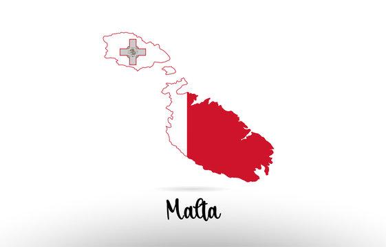 Malta country flag inside map contour design icon logo
