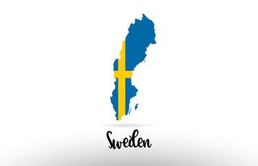 Sweden country flag inside map contour design icon logo