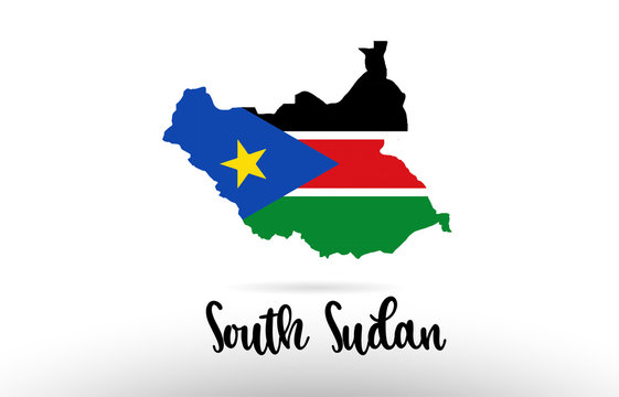 South Sudan country flag inside map contour design icon logo